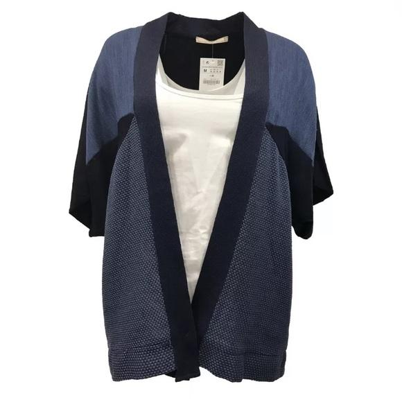 3114ec56dd47d8 Zara navy blue open front knit top cardigan